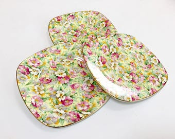 VINTAGE Ridgway Chintz Floral Plates, Rose Chintz Plates, Made in England Plates, Pink Transferware