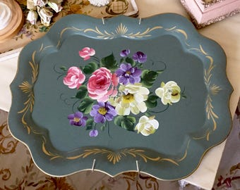 VINTAGE Green TOLE TRAY - Toleware Tray - Pink Roses Tray - Metal Floral Hand Painted Cottage Chic