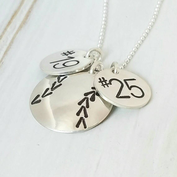 Softball Necklace, Baseball Necklace, Sterling Silver softball jewelry, Custom baseball necklace , Personalized Softball Necklace, 2 numbers