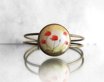 Unique Hand Jewelry, Hand Painted Poppy Bracelet, Original Fine Art Poppies Field Painting, Antique Bronze Color Bracelet, Artdora Shop
