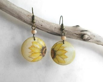 Half of Sunflower Earrings, Lightweight Dangle Wooden Earrings, Artistic Hand Painted Jewelry, Handcrafted Wood Art Jewelry