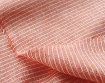 Yarn Dye Stripes Linen, Orange Aqua Green Stripes Linen Cotton Fabric- 1/2 Yard