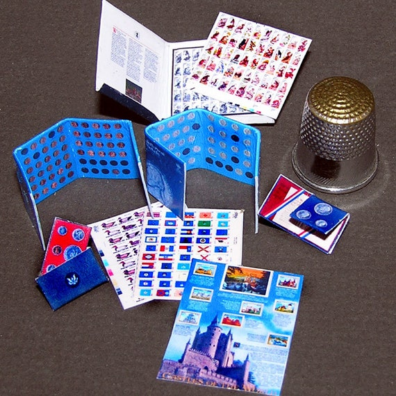 Stamp and coin collection, paper minis, DIY kit from paper in miniature for the Doll House, dollhouse miniatures # 40052