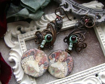 The Lady assemblage earrings, The Ancient Hoard Series, mixed metal jewelry, ceramic portraits, soldered jewelry, filigree, AnvilArtifacts