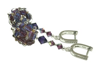 Purple Flower Earrings with detail flowers and silver dots, Velvet Swarovski Crystals, Pave CZ Sterling Silver earwires