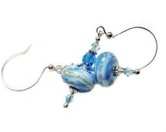 Shades of Blue lampwork bead earrings dripped in silver, Capri Blue and Aqua Swarovski Crystals, Sterling Silver