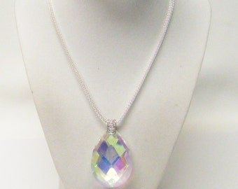 Large Hand Cut Crystal Oval Raindrop AB Pendant Necklace