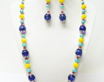 Speckled Blue Cobalt & Yellow Faceted Glass Bead Necklace/ Bracelet/Earrings Set