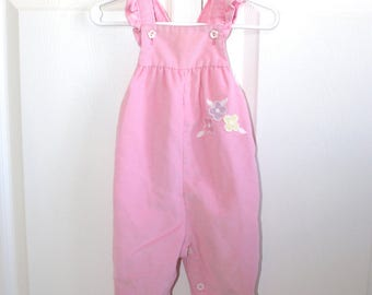 Vintage Pink Corduroy Bib Overalls . Baby Girl's Health-tex Overall Pants Dungarees . Appliqué Ruffles . Size 12 Months