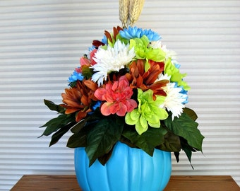 Spring floral arrangement, Teal pumpkin, Home decor, Thanksgiving centerpiece, Pumpkin centerpiece, Table decoration, Housewarming gift