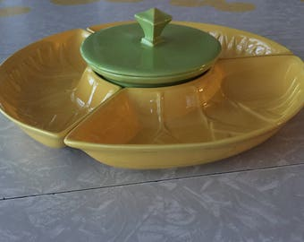 California Pottery Serving Bowls Yellow and Green