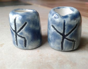 Set 2 Blue Bind Rune Ceramic Macrame Beads Large Hole Norse Viking Beads Dreads Dreadlocks Fibre Projects Pottery Clay Beads Uruz Algiz