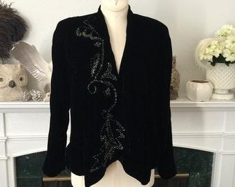 40s Beaded Silk Velvet Evening Jacket