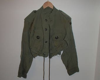 CHIC ARMY JACKET/ Military Draw String topped Jacket/ Distressed Army Green Summer Jacket/ Get The Look Celebrity Styles
