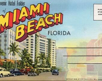Vtg 1950 Souvenir Hotel Folder of Miami Beach Florida Hotels, Beaches, Automobiles, Descriptions of Area,Much More!