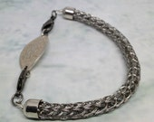 Stainless steel viking knit bracelet attachment for your medic alert ID tag