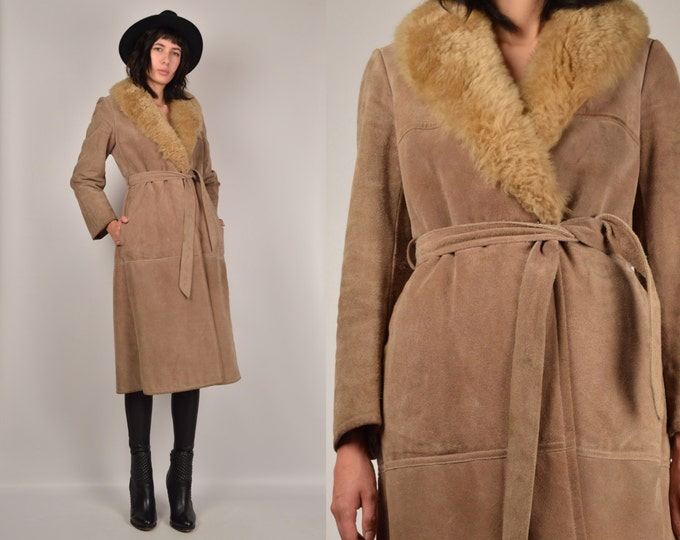 70's Suede Long Coat Faux Fur Collar