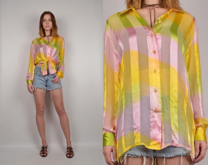 80's Pastel Silk Escada Shirt