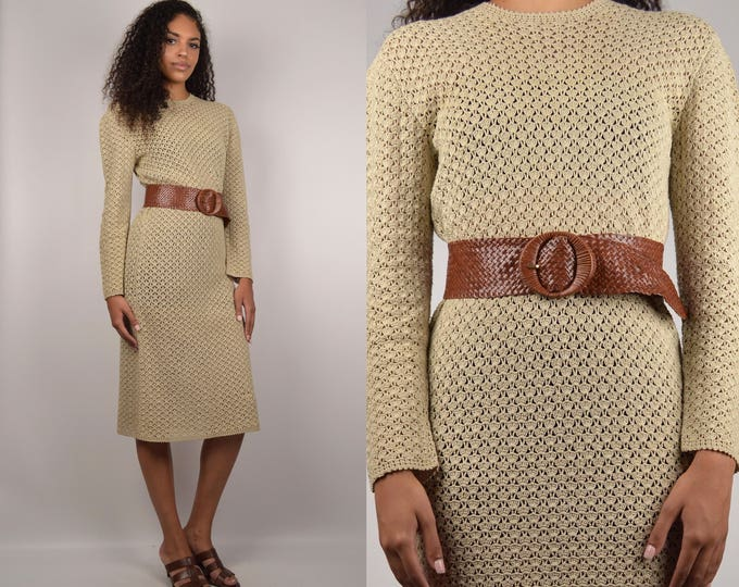 70's Tan Knit Midi Dress