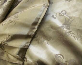 """Fabric Amazing Solid Dark Gold Brocade Silky Satin Kimono Fabric Yardage - 33"""" x 3 yards - Unused Antique"""