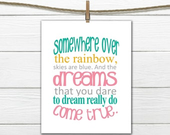 Nursery Decor  Somewhere over the Rainbow -  Instant Download -  8x10