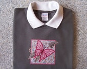 Medium Applique Tropical Butterfly on Charcoal Sweatshirt