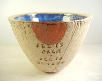 Silent Night - Pottery Bowl / Holiday Pottery Bowl / Christmas Bowl / Christmas Carol Gift / Holiday Gift / Holiday Music Gift