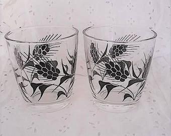 Vintage Beverage Glasses, Set of 2, Wheat Design, Tumbler, On-The-Rocks, Juice, 1950's