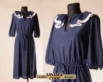 Vintage white collar navy dress | Etsy