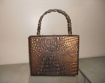 Cigarbox Purse, Brown Gold Leather, Tina Marie Purse Purse, Vintage
