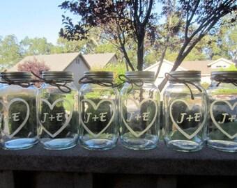 10 Quart Mason Jars - Table Numbers, 10 Wedding Mason Jar Center Pieces