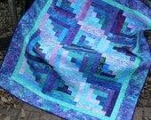 Quilt - Log Cabin Batik Quilt - Batik Lap Quilt - Butterfly Bliss Batik Lap Quilt