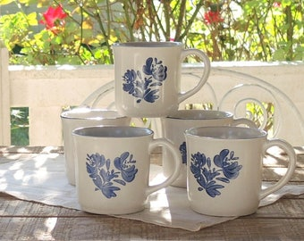 Pfaltzgraff Yorktowne Blue Coffee Mugs Set of 5 Hot Chocolate Mugs Salt Glazed Pottery