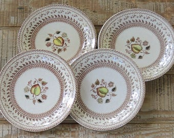 Johnson Brothers Fruit Sampler Bread and Butter Plates Set of 4 Vintage Farmhouse Dishes, Wedding, Brown Transferware China
