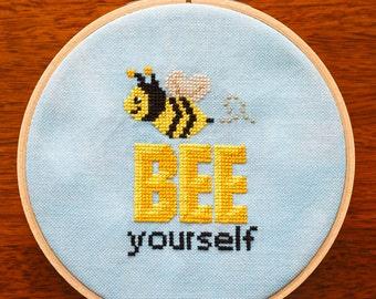 Bee Yourself Cross Stitch Pattern - Digital PDF Downloadable Pattern