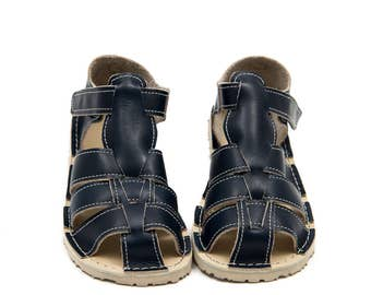 Dark blue Kids Leather Sandals, Vibram sole, support barefoot walking, sizes EU 25/26 to 34 - US 9 to 3 kids
