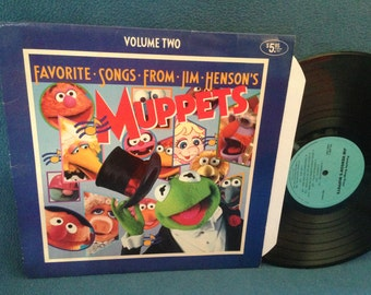 """RARE, Vintage, """"Favorite Songs From Jim Henson's Muppets Vol. 2"""", Vinyl LP, Record Album, Rubber Duckie , Muppet Babies Theme, Bein' Green"""