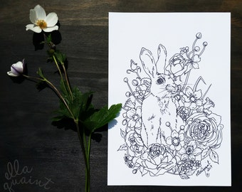Bunny Bouquet - Adult Coloring / Colouring Page by ellaquaint