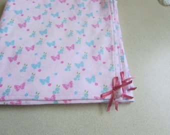 Butterflies, Extra large flannel receiving blanket, swaddling blanket, for baby girl, Pink and Blue, reusable gift wrap