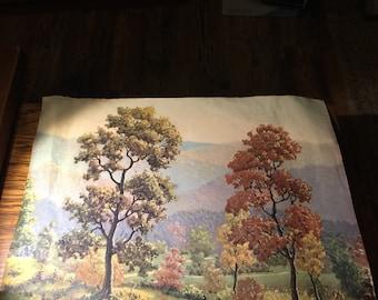 Antique Art Print - Fall Scene