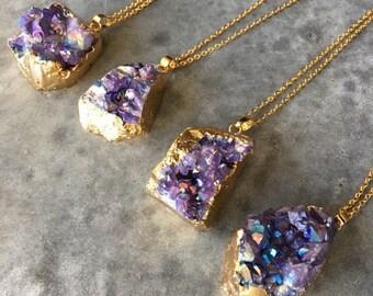 Druzy Necklace, Crystal necklaces