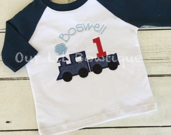 Train Birthday Shirt - Train - Birthday - Boy Train Shirt - Personalized Train Shirt - Birthday Train - Raglan - Train 1st Birthday Shirt