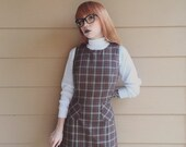 Black Friday Cyber Monday 90's Plaid Mod Preppy Schoolgirl Mini Dress // Women's size Medium