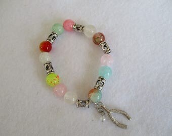 Wishbone charm bracelet, Wishbone stretch bracelet, colorful beaded Wishbone bracelet, bracelet for Spring, Lucky bracelet