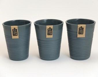 Minimalistic anthracite porcelain mug, contemporary ceramics, modern mug, dark gray porcelain mug, ripped mug, coffee mug
