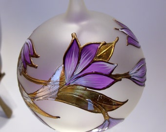 Large Frosted Ball Ornament with Purple and White Flowers Gold Silver and Copper Leaves