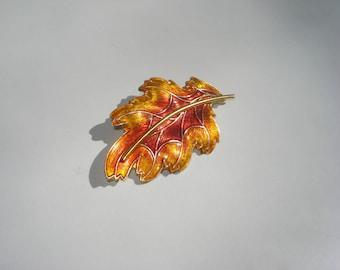 Orange Leaf Brooch - Vintage Costume Jewelry Pin - Gold Tone Enamel