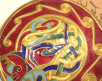 Large Celtic Enamel Bird Brooch with Striking Colors