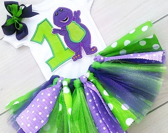 3 Piece Barney Outfit/ Baby Girl Barney Tutu/Scrappy Tutu/Birthday Tutu