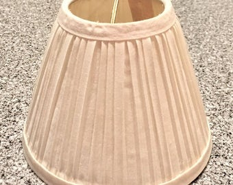 Vintage Small White Lamp Shades, 6 available, pleated fabric replacement shades,  clip on light cover, project materials